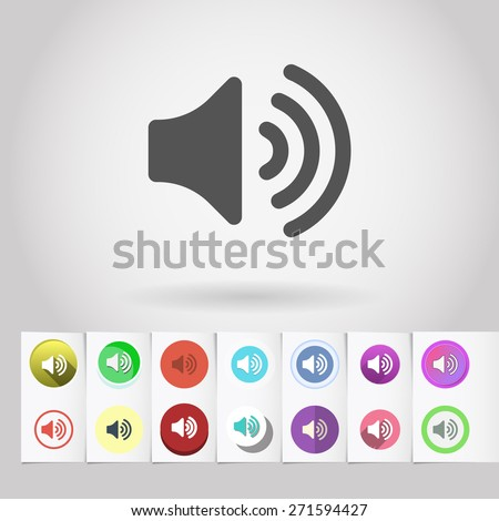 Vector loud sound icon and big set of round flat web mobile buttons on paper background - stock vector