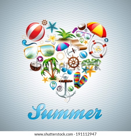 Vector Love Heart Summer Holiday design set on wave background. Eps10 illustration. - stock vector