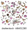 Vector love pattern with cupids. - stock vector