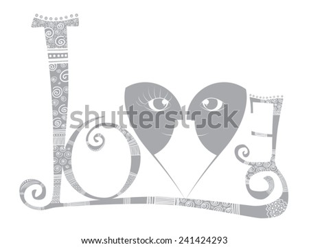 Vector - Love - Stylized word with v heart and faces - stock vector