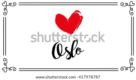 vector love theme postcard for oslo city - stock vector