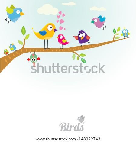 Vector lovely Birds on branch - stock vector