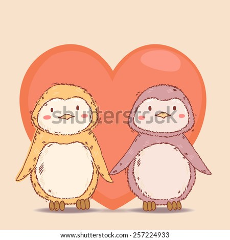 Vector lovely cartoon  penguins together in love with big red heart  background  - stock vector