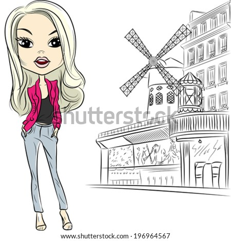 Vector Lovely fashion girl in sketch style near Moulin Rouge in Paris - stock vector