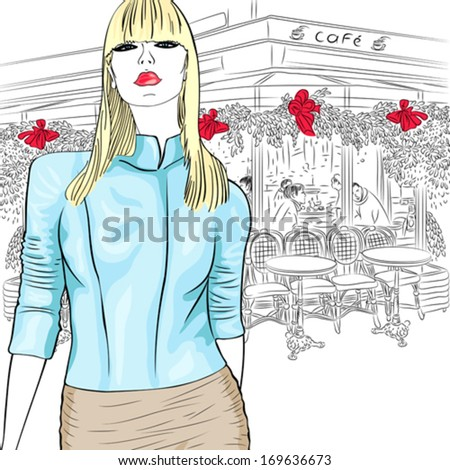 Vector Lovely fashion girl in sketch-style on the background of the Parisian cafe - stock vector