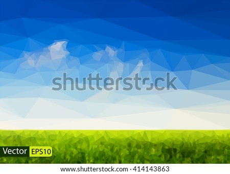 Vector low poly beautiful sky and green grass field - stock vector