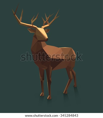 Vector  low poly deer illustration. - stock vector