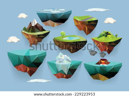 Vector low poly islands set for your design - stock vector