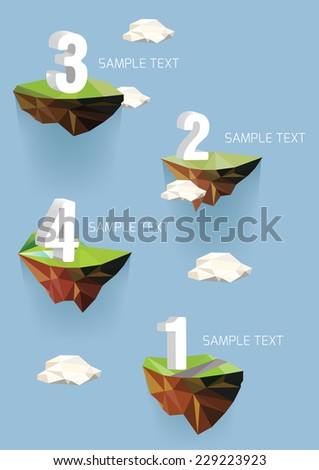 Vector low poly islands with numbers for your design - stock vector