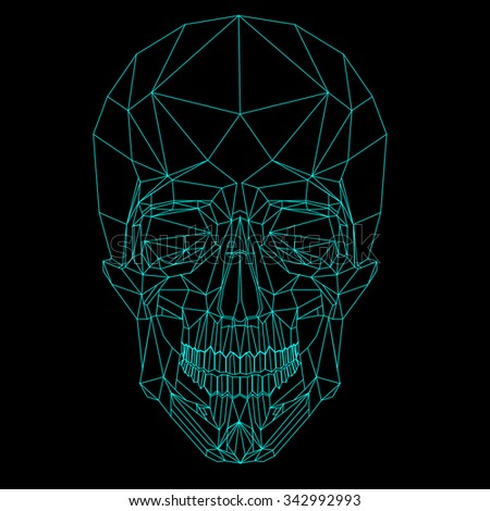 vector low poly  line neon blue skull on black  background - stock vector