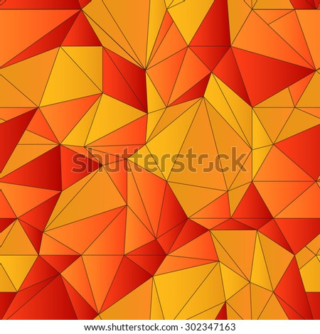 Vector low poly seamless pattern. Abstract low poly graphic repeat pattern. Orange red autumn polygonal seamless hand-drawn background. - stock vector