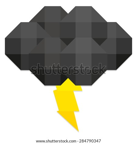 Vector Low Poly Style Black Cloud And Ray Isolated   - stock vector