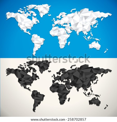 Vector Low Poly World Map - stock vector