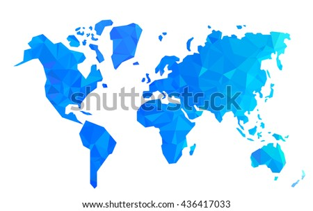 Vector low poly world map illustration isolated on white background. - stock vector