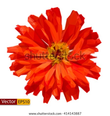 Vector low poly Zinnia elegans flower - stock vector