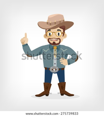 Vector macho cowboy flat illustration - stock vector