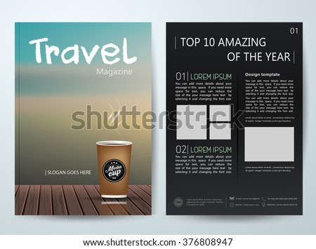Vector magazine,modern flyers brochure,cover,annual report,design templates,layout with travel background in a4 size,To adapt for business,poster,information,presentation,advertisement, illustration - stock vector