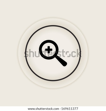 Vector magnifier icon with plus sign. Zoom in icon. - stock vector