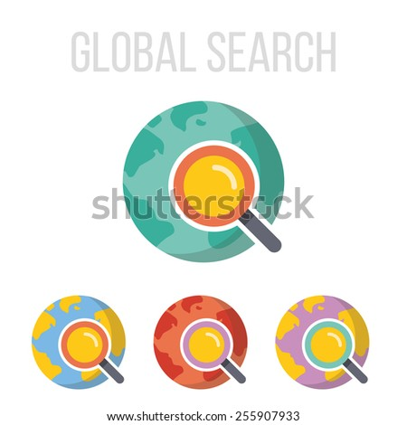 Vector magnifying glass and planet Earth icons set. Isolated on white background. - stock vector
