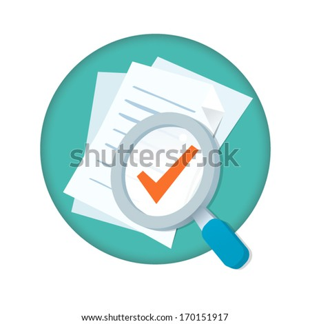 Vector magnifying glass with documents and check mark - stock vector