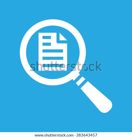 vector magnifying glass with white page icon on a blue background - stock vector