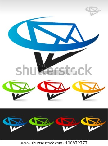 Vector mail letter logo icon with swoosh element - stock vector