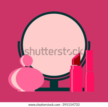 Vector makeup cosmetic beauty silhouettes set. Round mirror, perfume, mascara and lipstick icons. Flat style design - stock vector