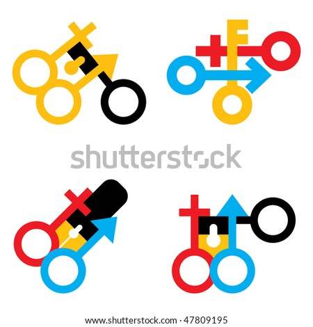 vector  male and female signs set(CMYK) - stock vector