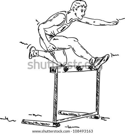 vector - male in a hurdle race , isolated on background - stock vector