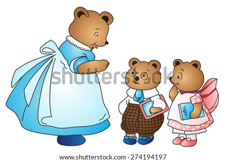 Vector Mama bear and her kids - stock vector