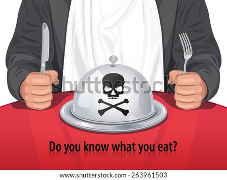 Vector Man and Closed Cloche with Skull & Crossbones - Do you know what you eat? - stock vector