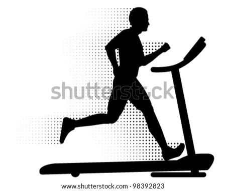 Vector Man Running on a Treadmill. Silhouette of a man running on a modern treadmill with halftone motion trail. - stock vector