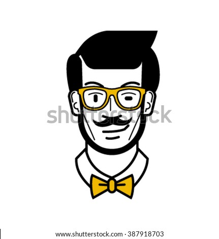 Vector_man's face with yellow glasses and a bow tie - stock vector