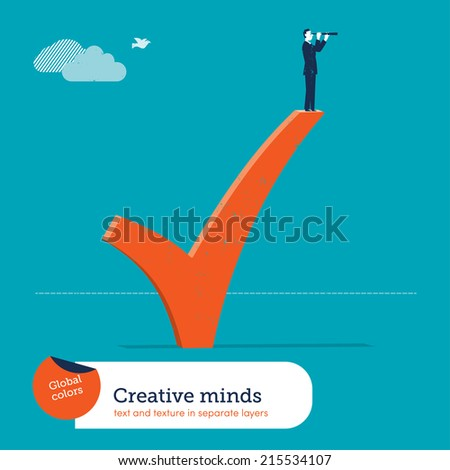 Vector man standing on ok sign. Vector illustration Eps10 file. Global colors. Text and Texture in separate layers. - stock vector