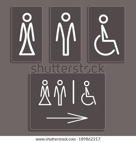 Vector Man, Woman and invalid one, restroom,  toilette symbols - stock vector