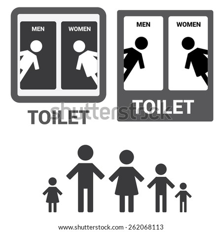 Vector Man & Woman restroom sign. Black Square Toilet Sign with Toilet, Men and Women text - stock vector