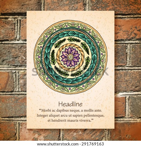 Vector Mandala on brick wall. Henna Paisley Mehndi Doodles Abstract Floral Vector Illustration Design Element. Round pattern, oriental style. Islam, Arabic, Indian, ottoman, ethnic motifs. - stock vector