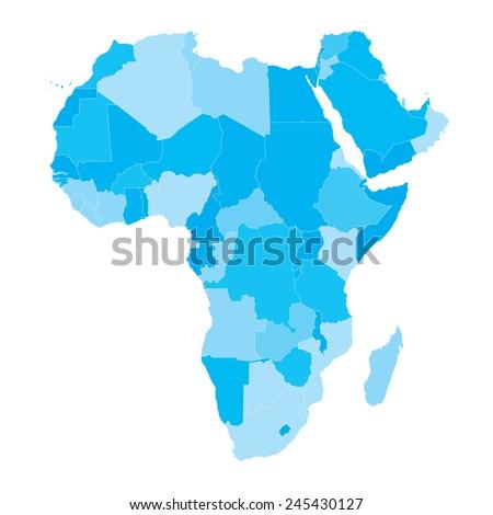 Vector Map - Africa Countries Cyan  - stock vector