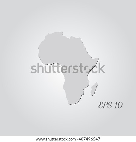 Vector map Africa. Isolated vector Illustration. Gray on Gradient background. With shadow. EPS 10 Illustration with an inscription. - stock vector