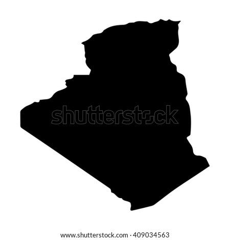 Vector map Algeria. Isolated vector Illustration. Black on White background. EPS 8 Illustration. - stock vector