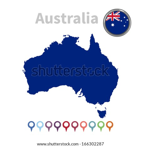 vector map and flag of Australia - stock vector