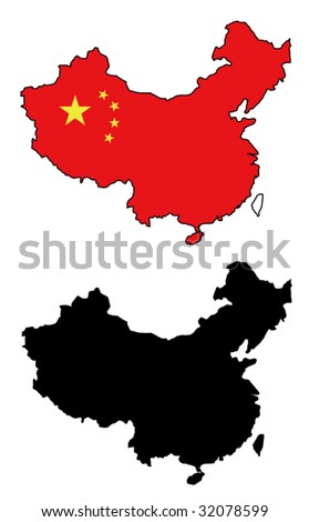 vector map and flag of China with white background. - stock vector