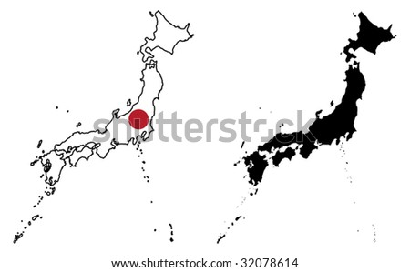vector map and flag of Japan with white background. - stock vector