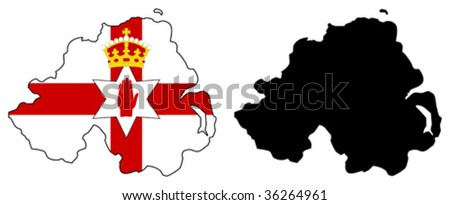 vector map and flag of Northern Ireland. - stock vector