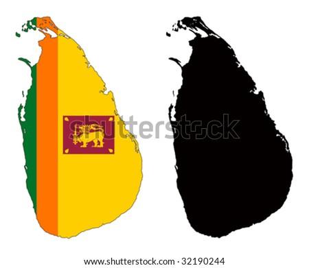 vector map and flag of Sri Lanka with white background. - stock vector
