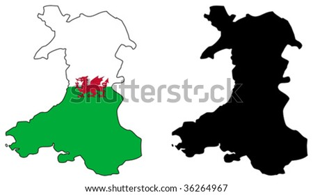 vector map and flag of wales. - stock vector