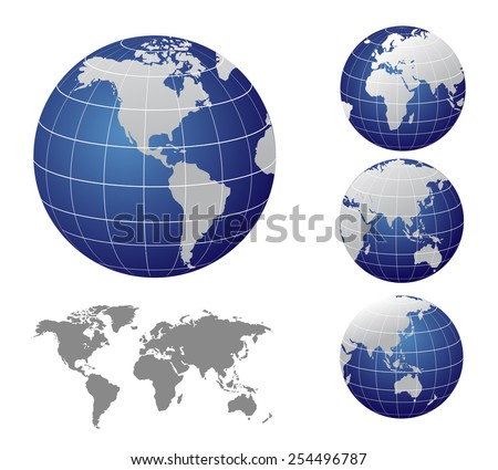 Vector Map and Globe of the World - stock vector
