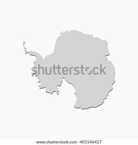 Vector map Antarctica. Gray Isolated vector Illustration. On Grey background. With shadow. EPS 10 Illustration. - stock vector
