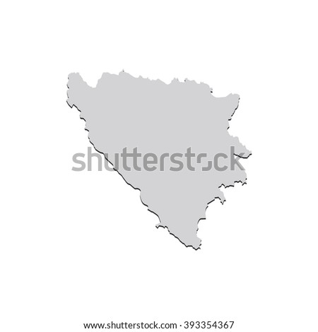 Vector map Bosnia & Herzegovina. Isolated vector Illustration. Gray on White background. With shadow. EPS 10 Illustration. - stock vector
