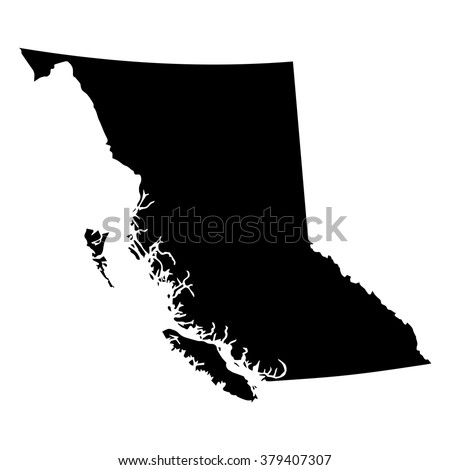 Vector map British Columbia. Isolated vector Illustration. Black on White background. EPS Illustration. - stock vector
